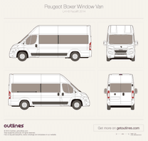 2014 Peugeot Boxer Window Van L4 H3 Facelift Bus blueprint