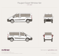 2007 Peugeot Expert Window Van L1 H1 Wagon blueprint