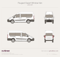 2007 Peugeot Expert Window Van L2 H2 Wagon blueprint
