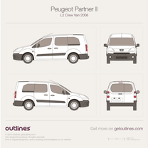 2008 Peugeot Partner Crew Van L2 Wagon blueprint