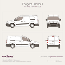 2008 Peugeot Partner Panel Crew Van L2 Van blueprint