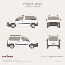2015 Peugeot Partner Crew Van L1 Facelift Wagon blueprint