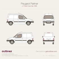 1996 Peugeot Partner Panel Crew Van L1 Van blueprint