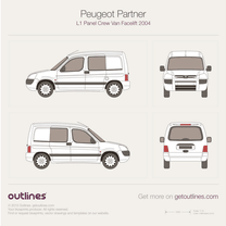 2002 Peugeot Ranch Panel Crew Van L1 Facelift Van blueprint