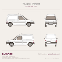 1996 Peugeot Partner Panel Van L1 Van blueprint