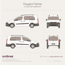 2015 Peugeot Partner Crew Van L2 Facelift Wagon blueprint
