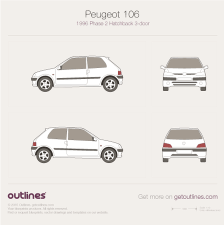 1996 Peugeot 106 Phase II Hatchback blueprints and drawings