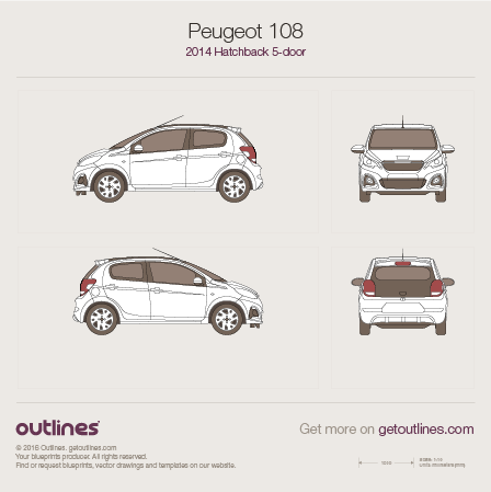 2014 Peugeot 108 5-doors Hatchback blueprint