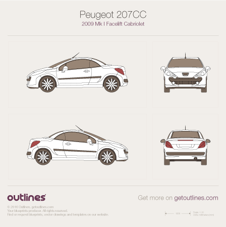 2009 Peugeot 207 Facelift Coupe blueprint