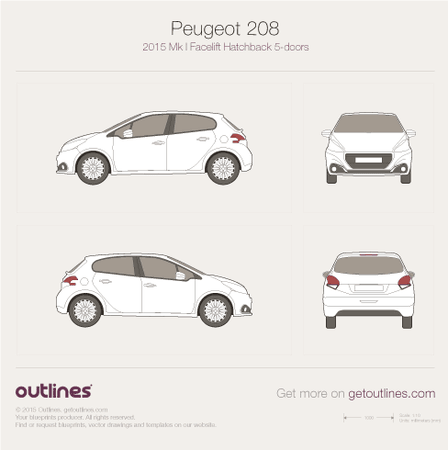 2015 Peugeot 208 5-doors Facelift Hatchback blueprint
