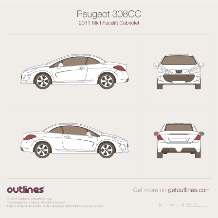 2011 Peugeot 308 СС Facelift Cabriolet blueprint