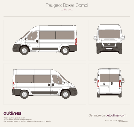 2007 Peugeot Boxer Window Van L2 H2 Van blueprint