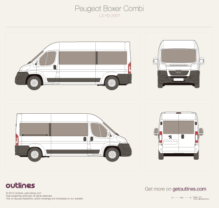 2007 Peugeot Boxer Window Van L3 H2 Van blueprint