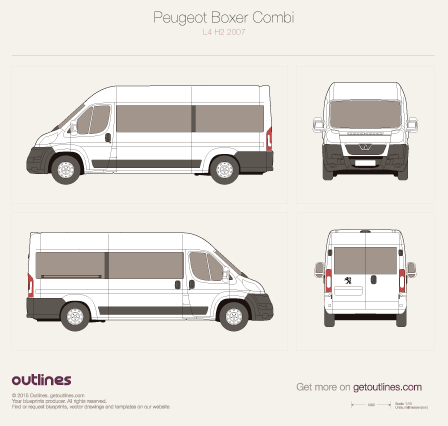 2007 Peugeot Boxer Window Van L4 H2 Van blueprint