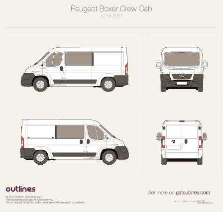 2007 Peugeot Boxer Crew Cab L2 H1 Van blueprint