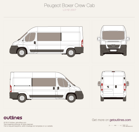 2007 Peugeot Boxer Crew Cab L3 H2 Van blueprint