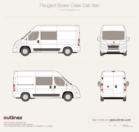 2014 Peugeot Boxer Crew Cab L2 H2 Facelift Van blueprint
