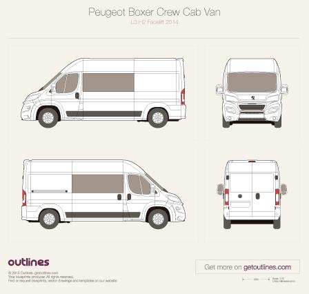 2014 Peugeot Boxer Crew Cab Van blueprints and drawings