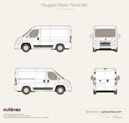 2014 Peugeot Boxer Panel Van L1 H1 Facelift Van blueprint