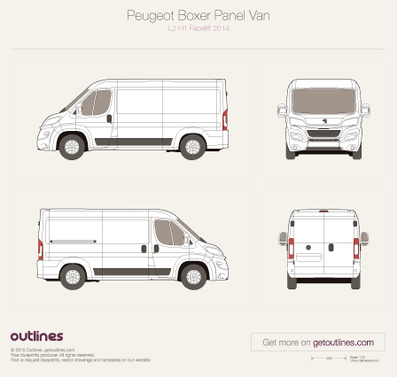 2014 Peugeot Boxer Panel Van L2 H1 Facelift Van blueprint