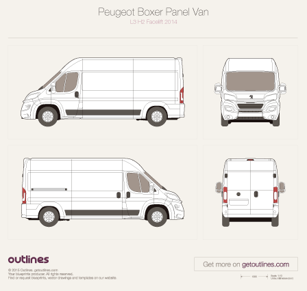 2014 Peugeot Boxer Panel Van L3 H2 Facelift Van blueprint