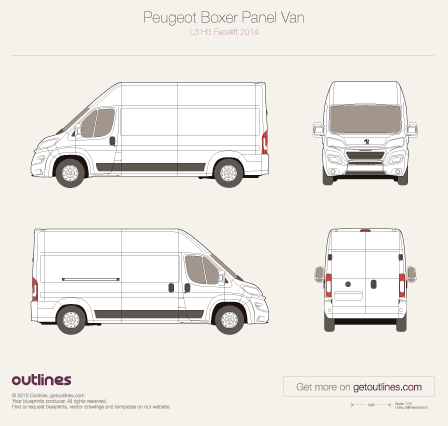 2014 Peugeot Boxer Panel Van L3 H3 Facelift Van blueprint