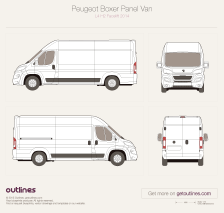 2014 Peugeot Boxer Panel Van L4 H2 Facelift Van blueprint