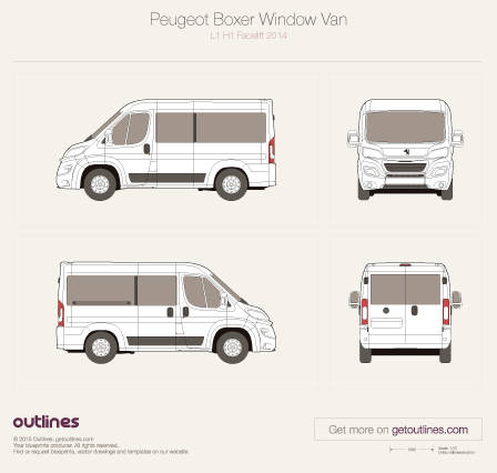 2014 Peugeot Boxer Window Van L1 H1 Facelift Bus blueprint