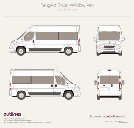 2014 Peugeot Boxer Window Van L3 H2 Facelift Van blueprint