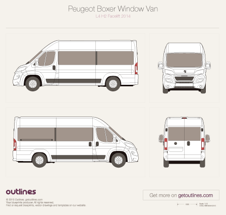 2014 Peugeot Boxer Window Van Van blueprints and drawings