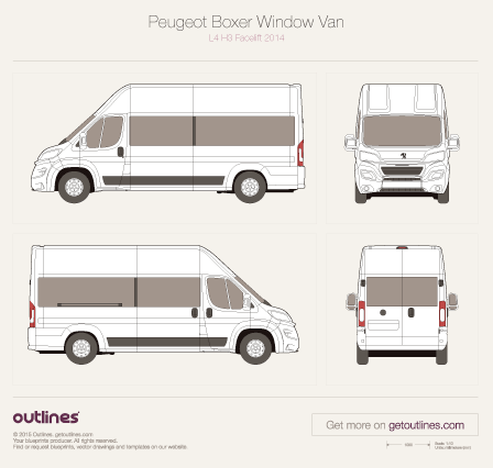 2014 Peugeot Boxer Window Van Bus blueprints and drawings