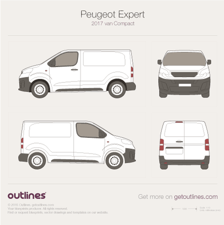 2017 Peugeot Expert Mk III Van blueprints and drawings
