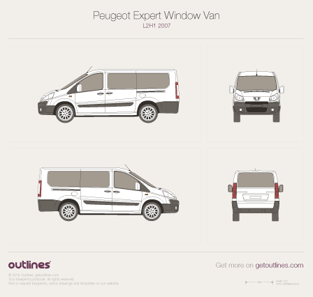 2007 Peugeot Expert Window Van L2 H1 Wagon blueprint