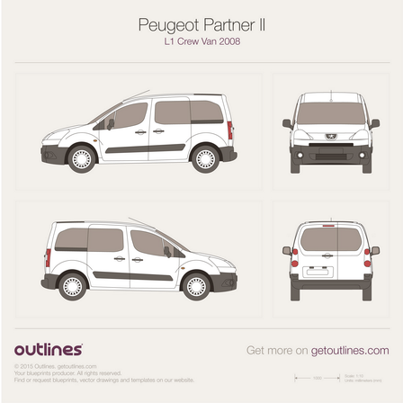 2008 Peugeot Partner Crew Van L1 Wagon blueprint