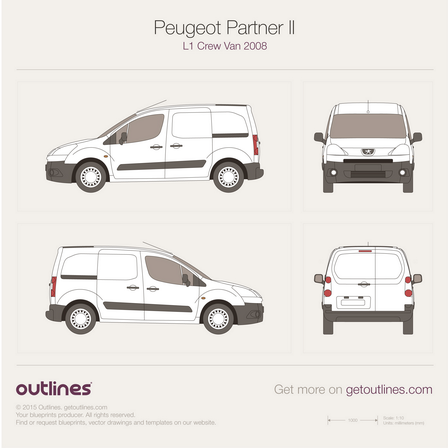 2008 Peugeot Partner Panel Crew Van Van blueprints and drawings