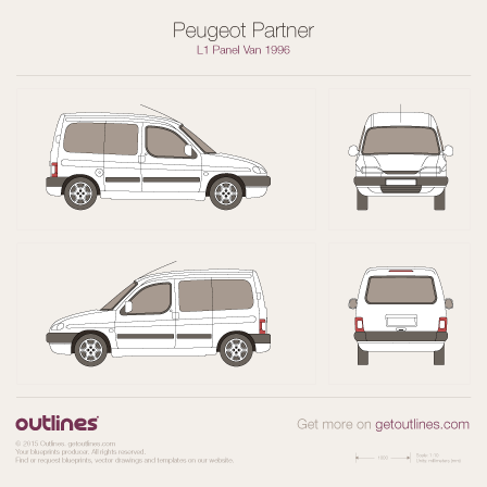 1996 Peugeot Partner Crew Van L1 Wagon blueprint