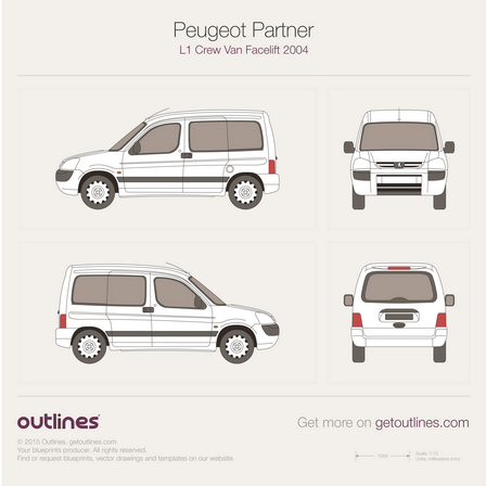 2002 Peugeot Partner Crew Van L1 Facelift Wagon blueprint