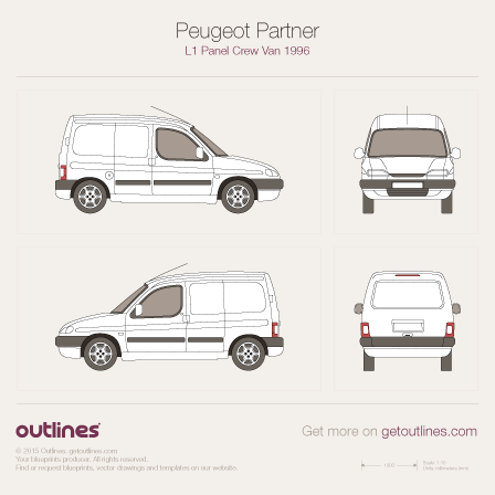 1996 Peugeot Partner Panel Crew Van Van blueprints and drawings