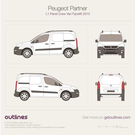 2015 Peugeot Partner Panel Crew Van L1 Facelift Van blueprint