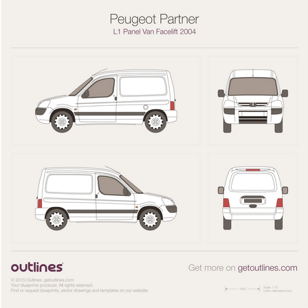2002 Peugeot Partner Panel Van Van blueprints and drawings