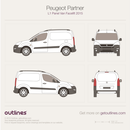 2015 Peugeot Partner Panel Van L1 Facelift Van blueprint