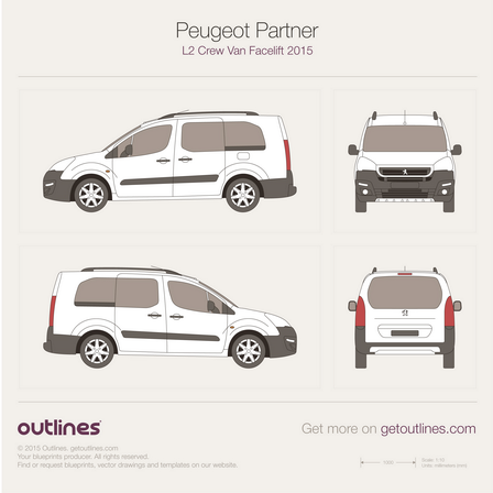 2015 Peugeot Partner Crew Van Wagon blueprints and drawings