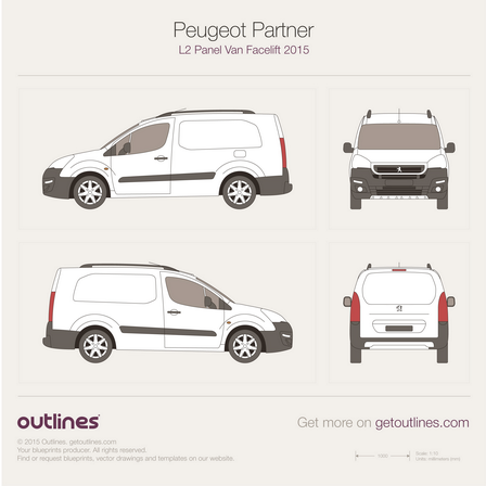 2015 Peugeot Partner Panel Van Van blueprints and drawings
