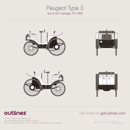 Peugeot Carriage T3 + Dimensions Sedan blueprint