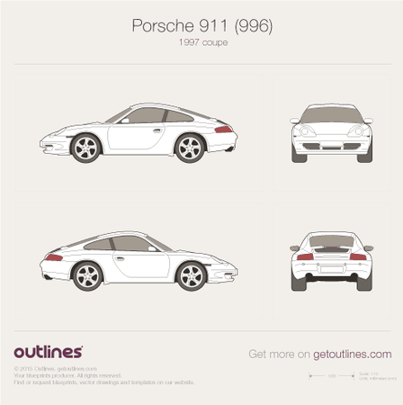 1997 Porsche 911 (996) Coupe blueprint