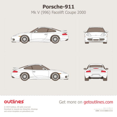2000 Porsche 911 (996) Facelift Coupe blueprint