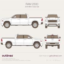 2018 Ram 2500 Mk V Crew Cab Pickup Truck blueprint