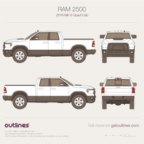 2018 Ram 2500 Mk V Quad Cab Pickup Truck blueprint