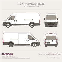 2014 Ram ProMaster 1500 Cargo 136'' Low Roof Van blueprint