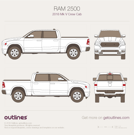 2018 Ram 2500 Mk V Pickup Truck blueprints and drawings